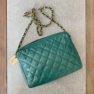VINTAGE CHANEL Quilted Lizard Shoulder Bag